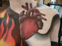 Maquillage Body Painting Les 4 éléments coeur